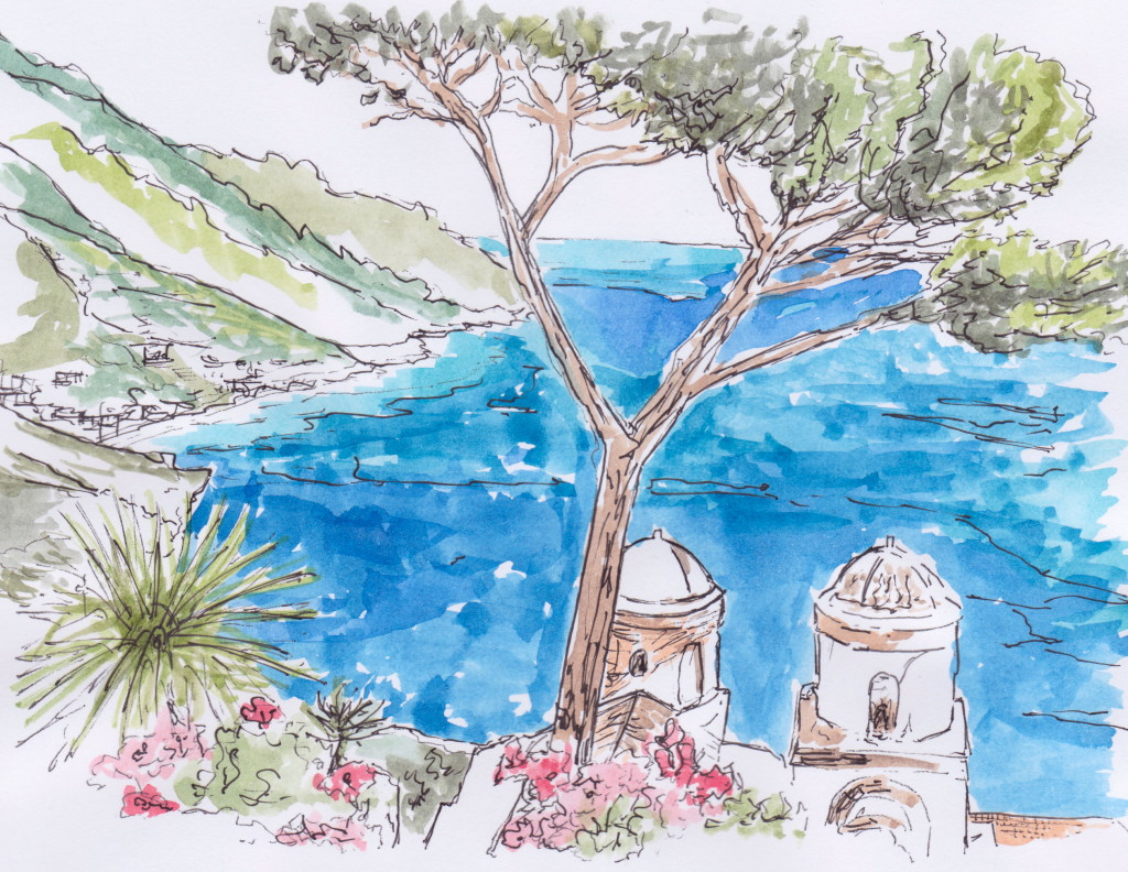 Illustration in pen and ink with watercolour of the view from Ravello on the Amalfi Coast by Louise Keane of Amalfi White Living