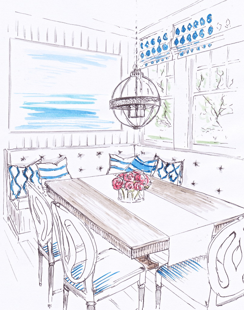 Amalfi inspired dining nook with built-in banquette seating designed and illustrated in pen and ink with watercolour by Louise Keane of Amalfi White Living