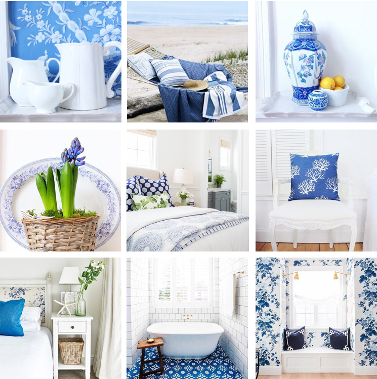 Blue and white montage by Amalfi White Living