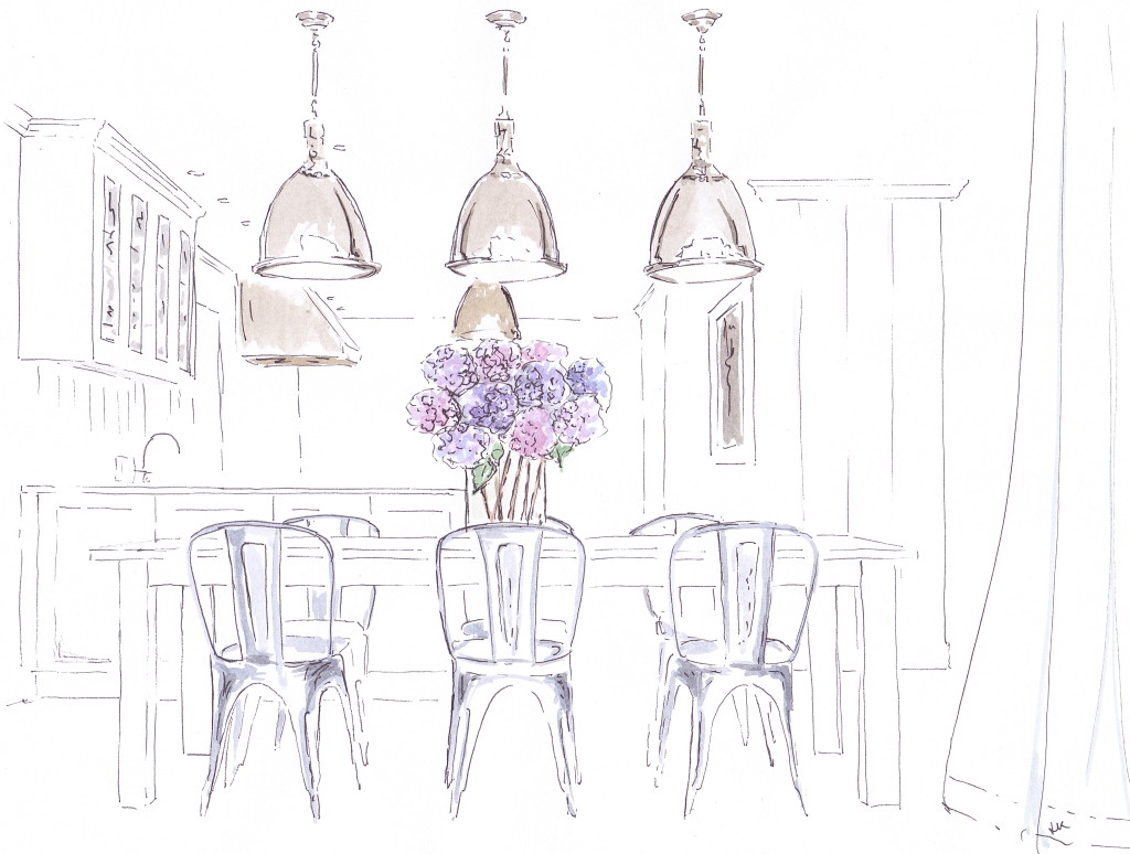The kitchen of the beautiful white Hamptons beach house designed by New York based design firm Chango & Co with Tolix chairs and oversized pendant lights (llustrated in pen and ink with watercolour by Louise Keane of Amalfi White Living)