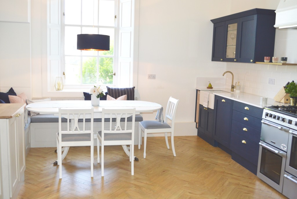 Edinburgh kitchen in navy and warm grey designed by Amalfi White Living