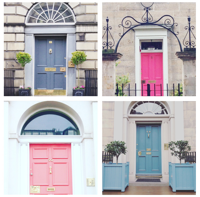 Selection of doors in different shades of pink and blue grey
