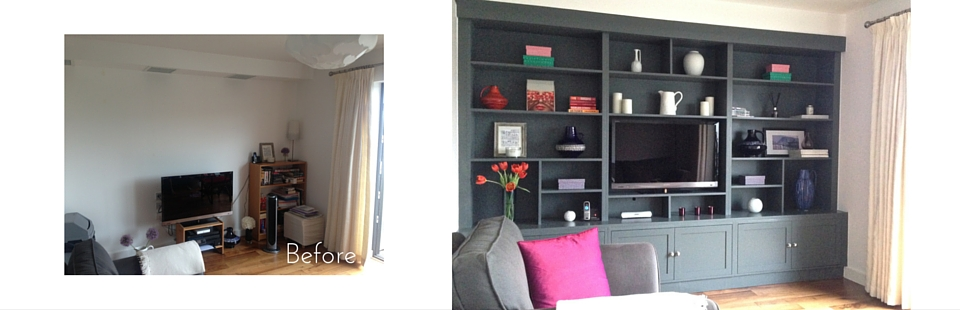 Dark grey bespoke shelving add style to this London apartment