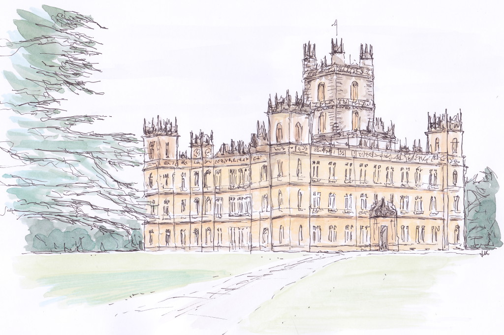 Magnificent Highclere Castle more popularly known as 'Downton Abbey' illustrated in pen and ink with watercolour by Louise Keane of Amalfi White Living