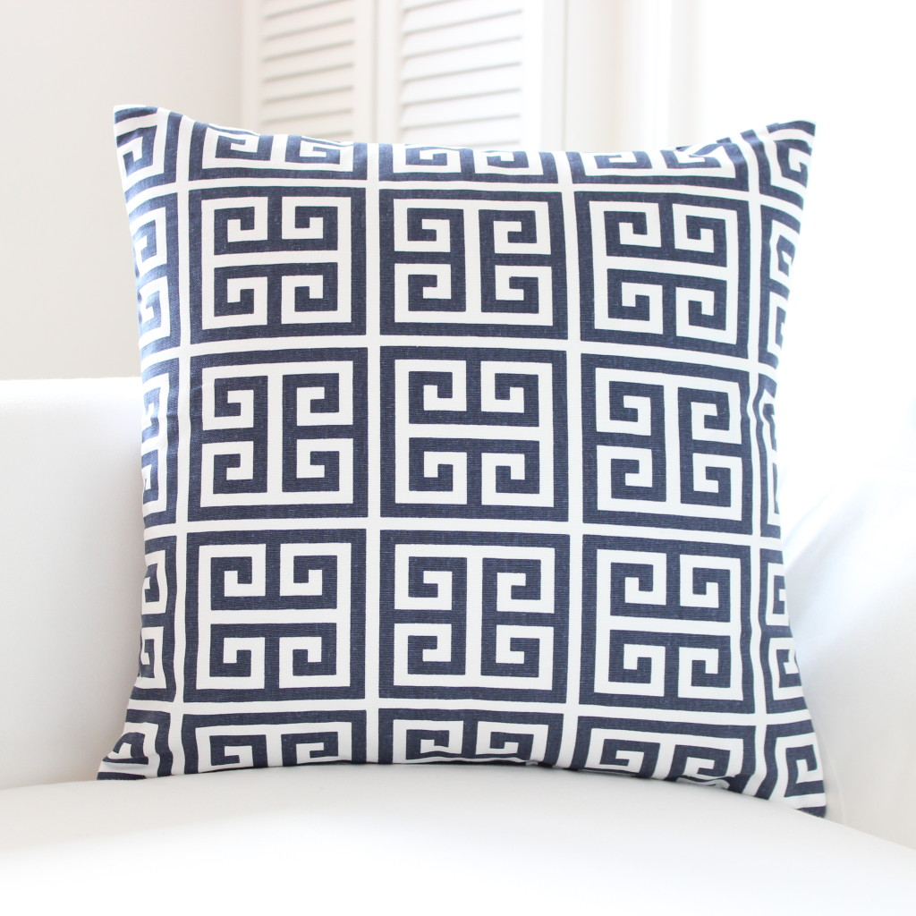 Navy and white cushion with Greek Key pattern by Amalfi White Living