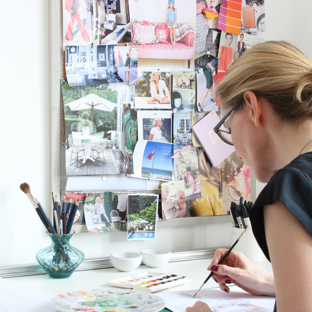 Interior designer and illustrator Louise Keane at work