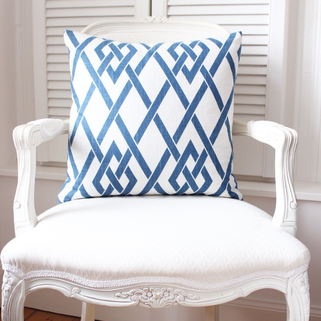 Louis chair with blue and white trellis cushion (available from This is Glamorous)