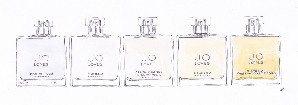 A selection of pretty Jo Loves perfume bottles illustrated in pen and ink with watercolour by Louise Keane of Amalfi White Living