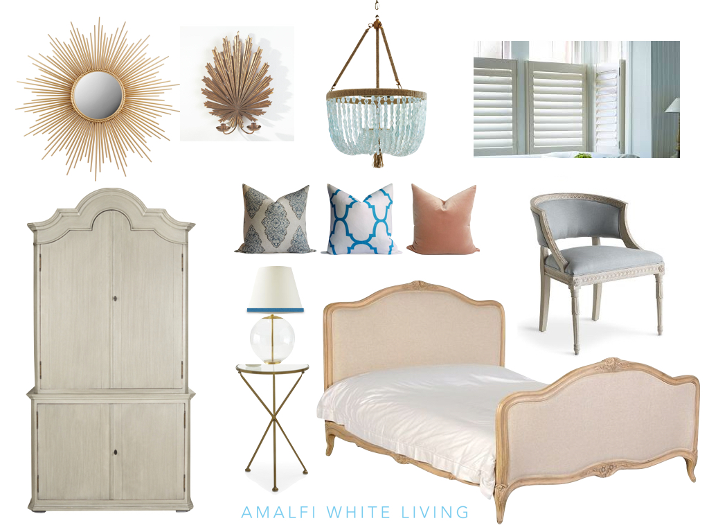 Moodboard for an elegant French style bedroom with a glamorous modern twist (Design by Amalfi White Living)