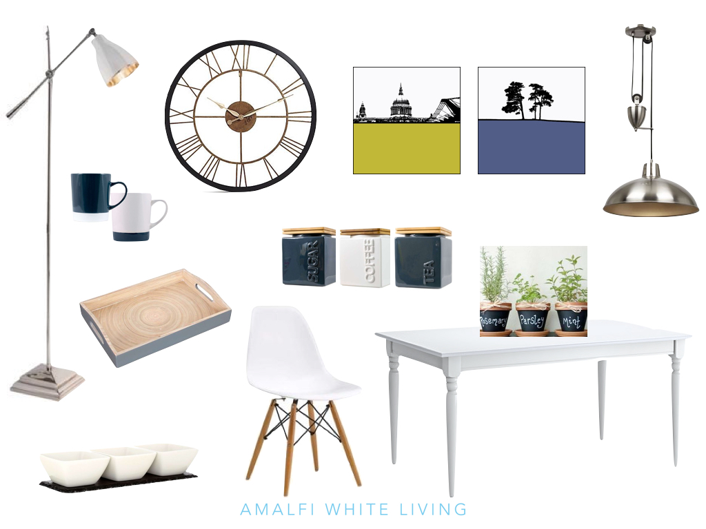 Moodboard for styling a kitchen on a budget by Amalfi White Living