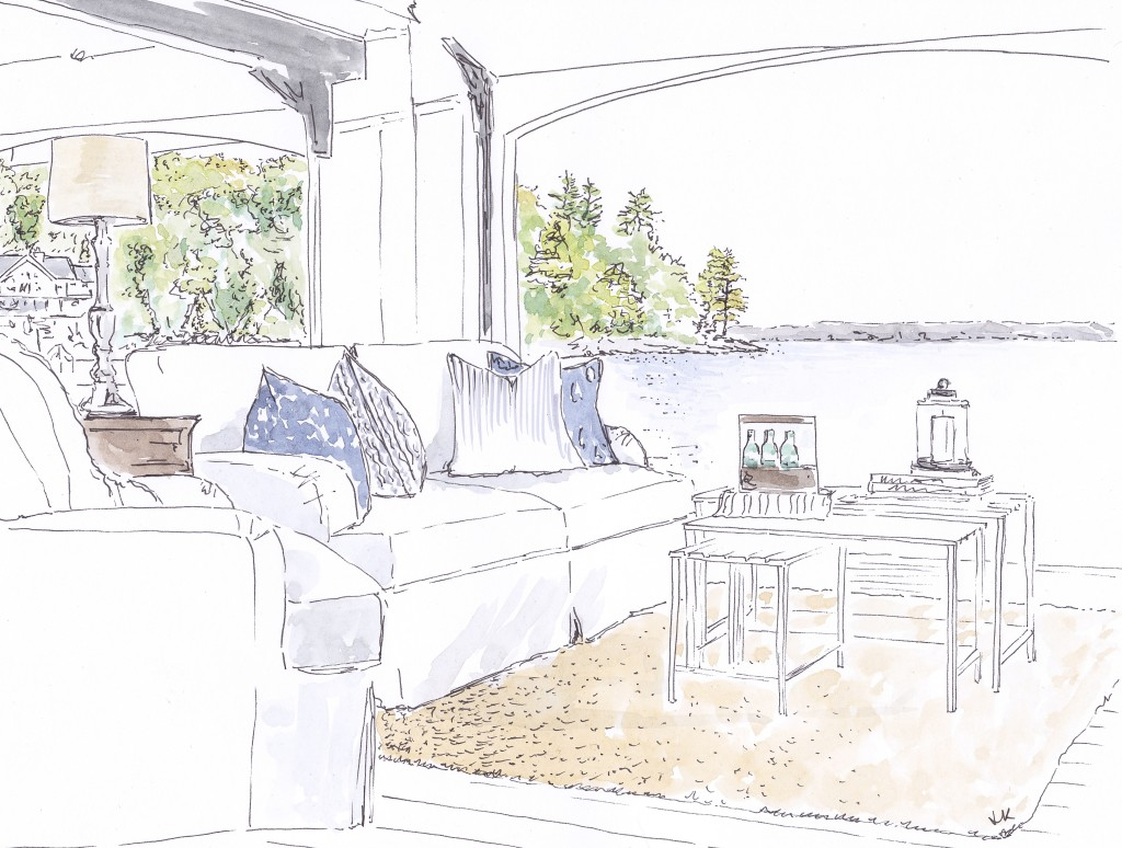 Classic Lakehouse design with wooden panelling by Muskoka LIving Interiors in Canada (Illustration by Louise Keane of Amalfi White Living in pen and ink with watercolour)