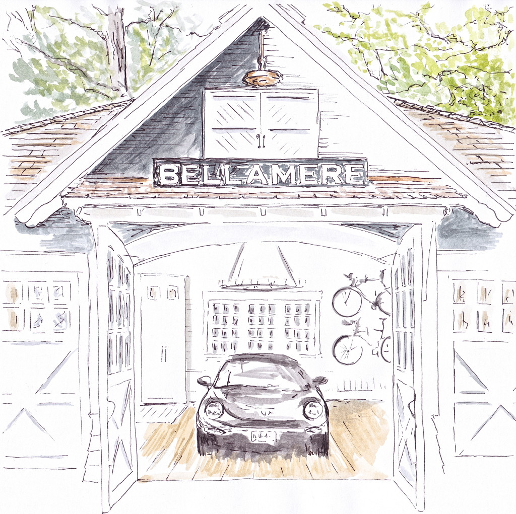 Classic Lakehouse design by Muskoka LIving Interiors based in Canada - a very stylish place to park your Porsche (Illustration by Louise Keane of Amalfi White Living in pen and ink with watercolour)