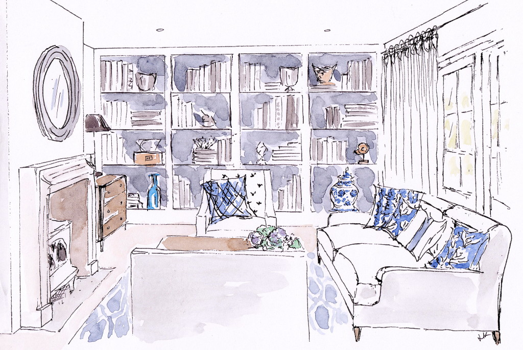 Summer fresh living room with hints of New England style - in neutral tones with accents of blue and white designed and illustrated by Louise Keane of Amalfi White Living