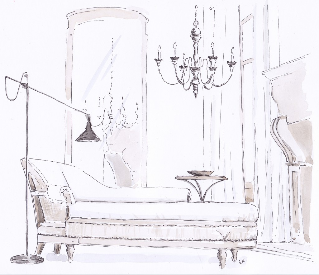 A neutrally upholstered Deconstructed French Victorian Chaise by Restoration Hardware with circa 1900 French Brasserie table illustrated in pen and ink with watercolour by Louise Keane of Amalfi White Living