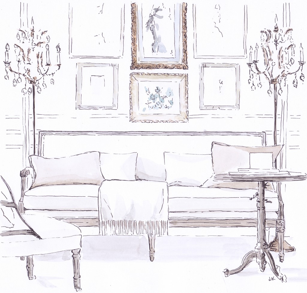 The 'Auguste Salon Bench' from Restoration Hardware in an elegant Parisian style room set illustrated in pen and ink with watercolour by Louise Keane of Amalfi White Living