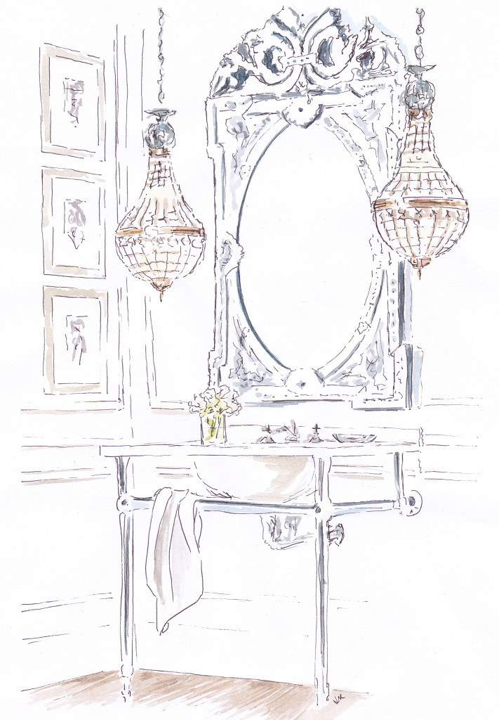 Elegant bathroom by Restoration Hardware with dramatic hanging lights and a Venetian style mirror illustrated in pen and ink with watercolour by Louise Keane of Amalfi White Living