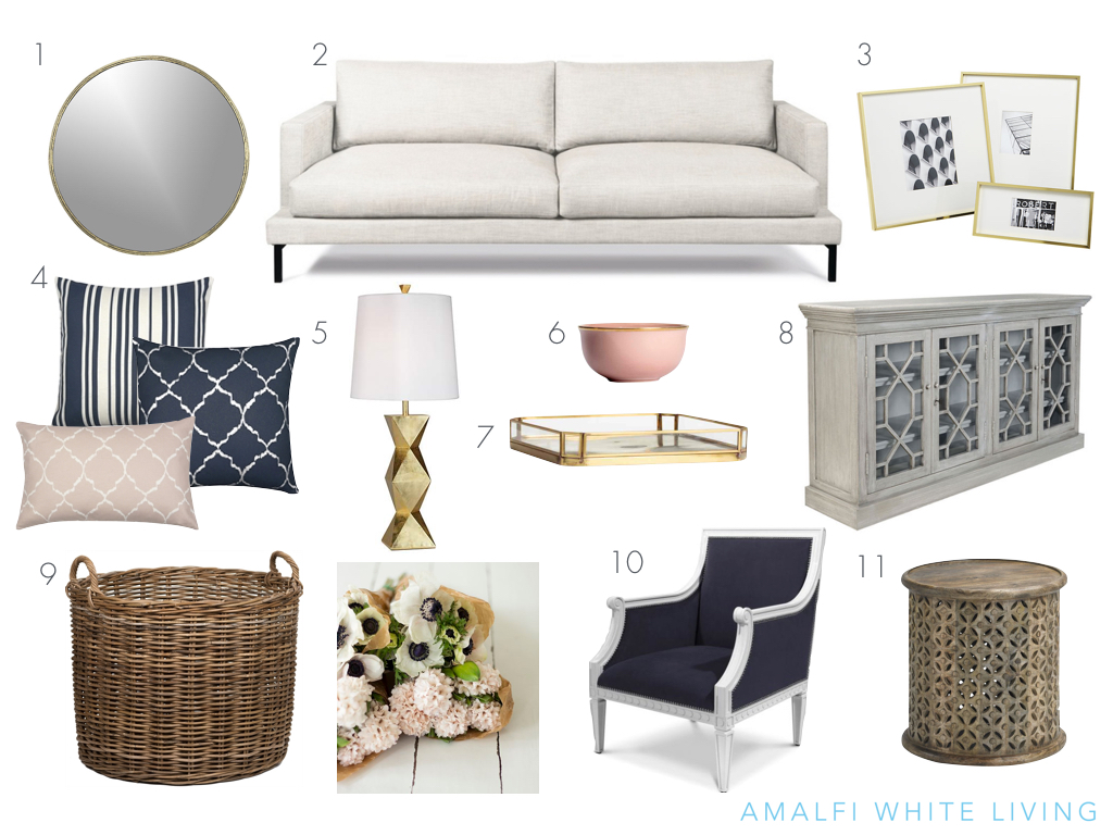 Moodboard for house by the sea with blush and navy, weathered wood and brass