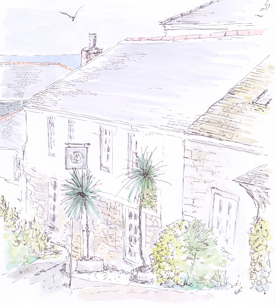 The Tide House is a beautiful boutique hotel housed in a stone building in the pretty coastal village of St Ives in Cornwall and decorated in a classic New England style with chalky shades and nautical touches (Illustration by Louise Keane of Amalfi White Living in pen and ink with watercolour)