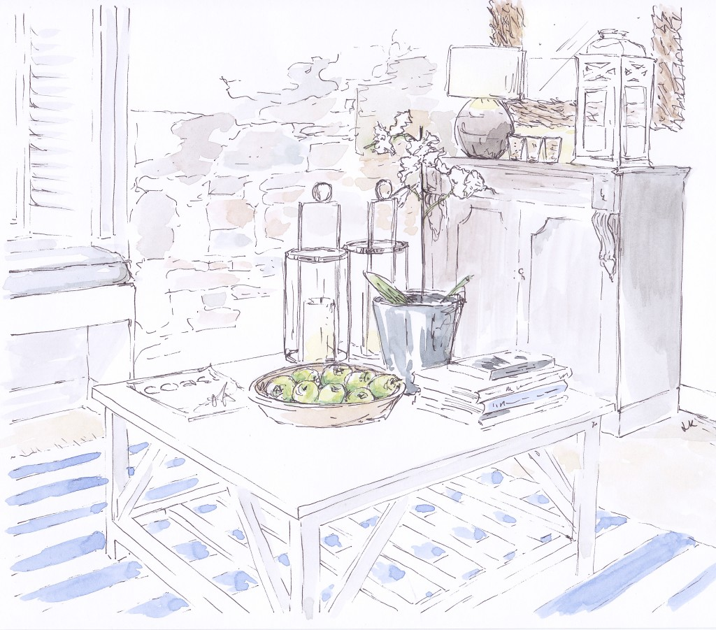 The Tide House is a beautiful boutique hotel in the pretty coastal village of St Ives in Cornwall decorated in a classic New England style with chalky shades and nautical touches (Illustration by Louise Keane of Amalfi White Living in pen and ink with watercolour)