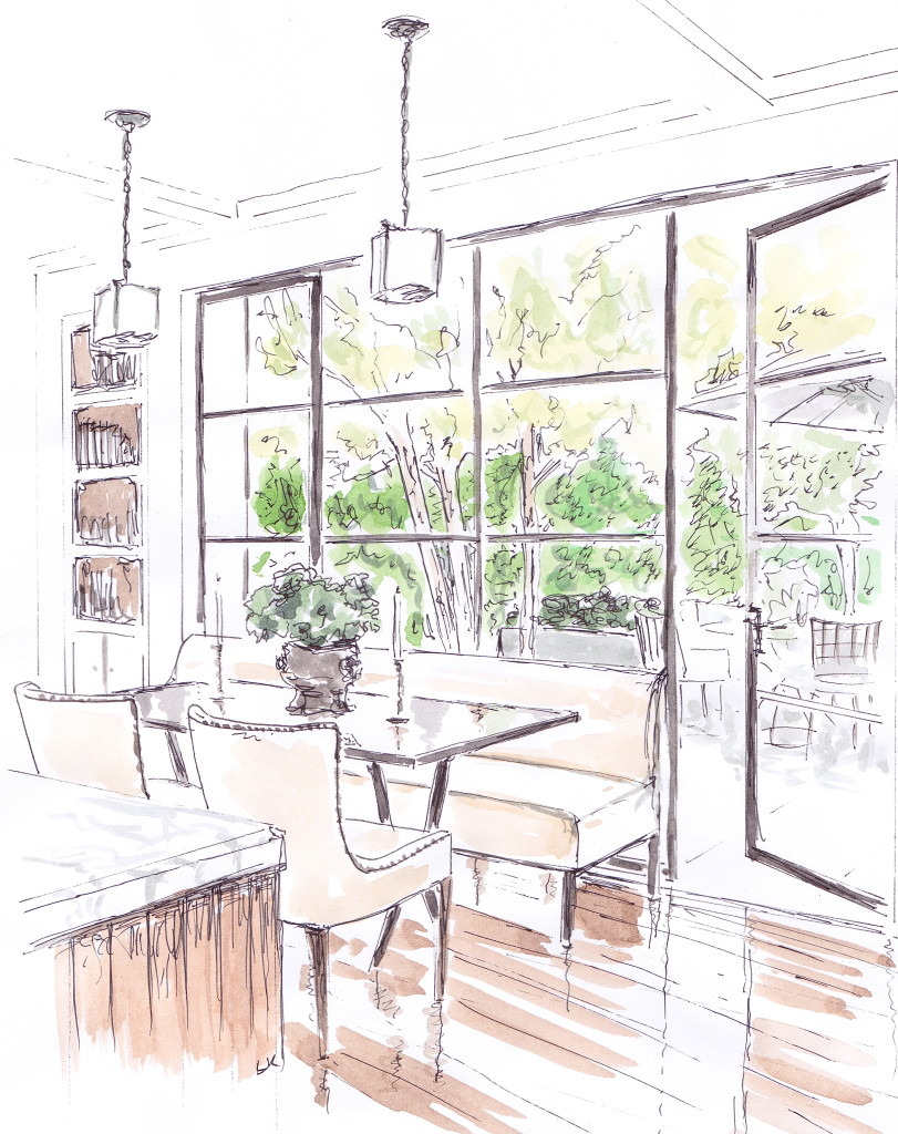 US architect William Hefner's stunning dining space in his own home featuring floor to ceiling steel windows (Illustration by Louise Keane of Amalfi White Living in pen and ink with watercolour)
