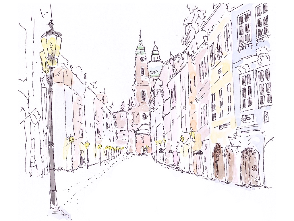 Illustration in pen and ink with watercolour of Mala Strana in the beautiful Czech city of Prague covered with a blanket of snow