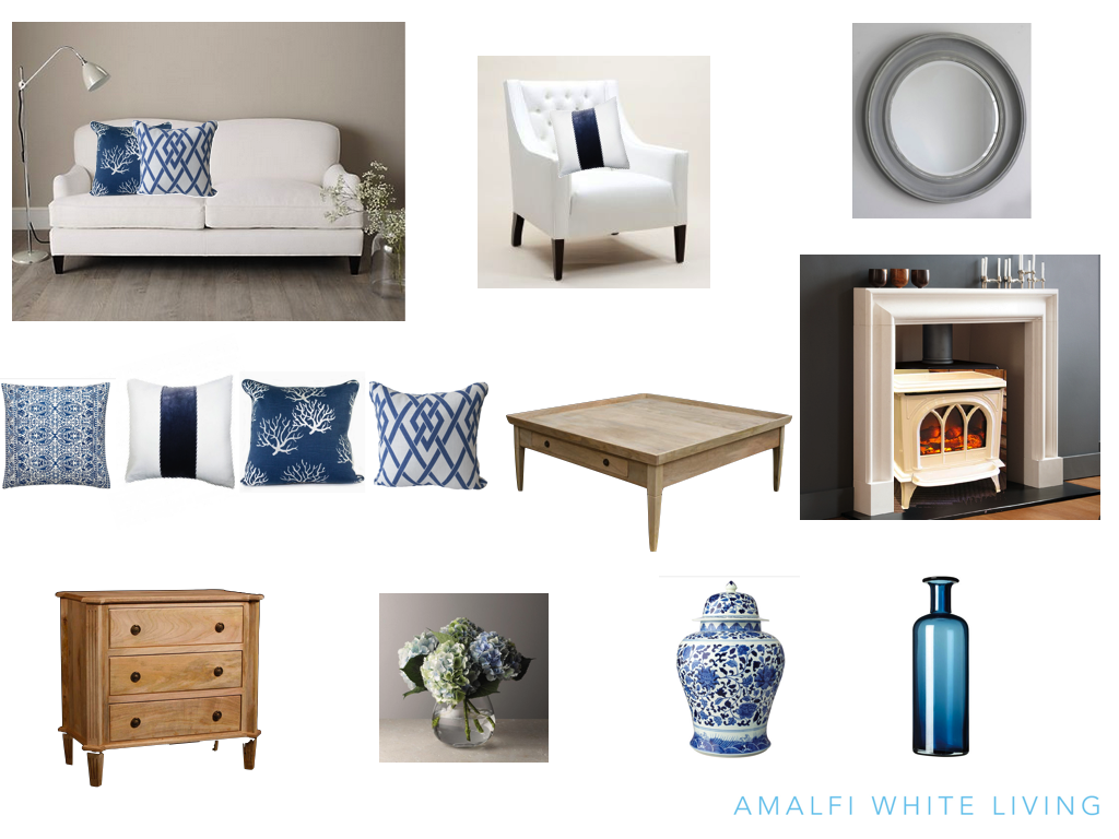 Blue and white decor archives amalfi white living for Furniture accessories